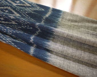 Lao handwoven sarong fabric,cotton indigo and natural dyes, mudmee weaving, indigo dyed textile - ethnic textile -Fairtrade handmade product