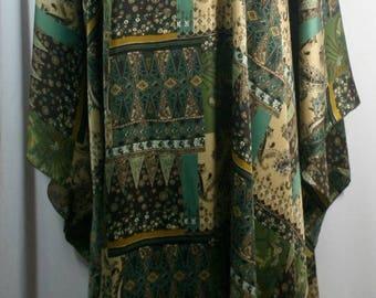Plus size caftan/kaftan, shamoz silk or charmeuse fabric, green/brown tone, mixed pattern, size 1X-2X or 3X-4X