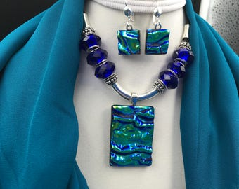 Blue and Green Dichroic Glass Jewelry Set