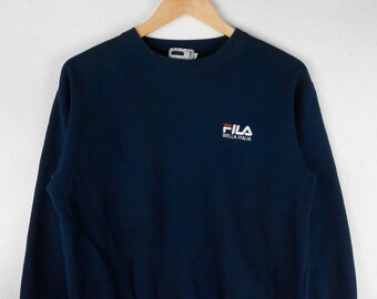 RARE!!! Fila Biella Italia Small Logo Embroidery Crew Neck Dark Blue Colour Sweatshirts Hip Hop Swag M Fit S Size