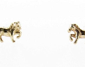 9ct Yellow Gold Prancing Pony Stud Earrings