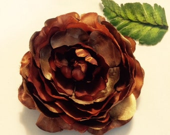 Shiny copper rose silk flower hair clip