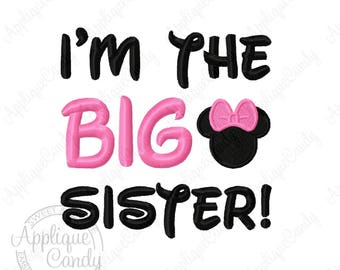 Miss Mouse I'm the BIG Sister Machine Embroidery Design 4x4 5x7 6x10 INSTANT DOWNLOAD