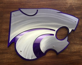 K-State Powercat Metal 14ga Steel Dual Layered Wall Art - Kansas State Wildcats - College Sports, Purple