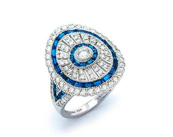Rhodium plated Sterling Silver Oval ring w/Cz & Blue Spinel
