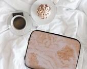 Pastel Orange Marble Marble Print Marble Design Neoprene Laptop Sleeve MacBook Case Laptop Case Carry Case Laptop Bag  lspp016