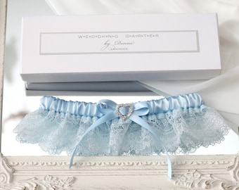 light blue wedding garter, blue bridal garter, blue lace garter, light blue garter, something blue wedding garter, blue bridal lingerie