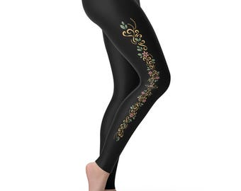 Floral Swirl Design Women's Leggings