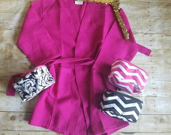 Monogrammed fuschia waffle weave spa robe and cosmetic bag