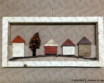 Square wooden framed landscape-natural wood