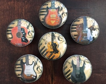 1.5 inch guitars, black, cabinet knobs, drawer pulls, acoustic, electric guitars, EACH SOLD SEPARATELY