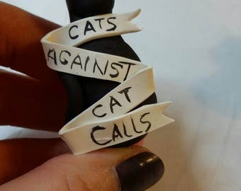 Cat's Against Cat Calls charm. Polymer clay charm.