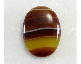 29Cts 30X22X6 mm Excellent Yellow Botswana Agate Oval Shape Cabochon Loose Gemstone Jewelry Making Semi Precious Wholesale Stone B-2010
