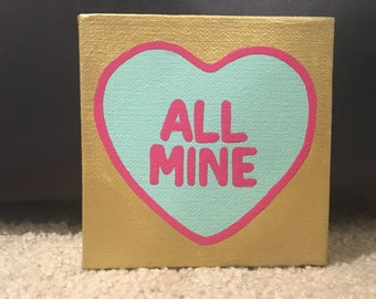 Candy heart canvas signs