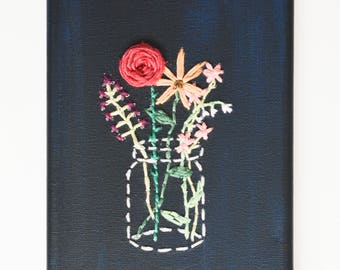 Hand made embroidered cute floral tumblr aesthetic flower vase canvas