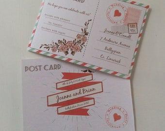 Sample Postcard Wedding Invitation