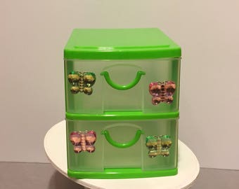 Green 2 drawer storage container w/ butterfly gems for any 18 inch doll, dollhouse furniture - accessories -