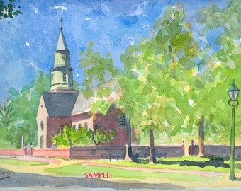 Bruton Parish Church- Signed Print 11x14 from an original watercolor.