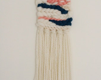 Handmade Woven Blue, Peach and Off-white Roving Fiber Wall Hanging