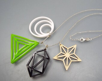 "Pendants & chain necklace ""Geometric"" 925 Silver - wood, black, white, green"
