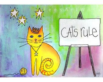 Yellow Tabby Cat Print, Tabby Cat Print, Cat Lover Gift, Cat Mum Gift, Cat Mom Gift, Gift for Cat Mom, Cartoon Cat Print, Cat Home Gifts