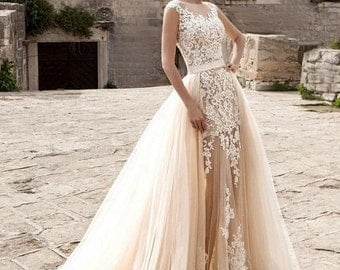Wedding dress light Peach Echo and white colors with detachable train, tulle bridal removable skirt with train