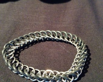 Silver and Black Stretchy Chainmaille Bracelet