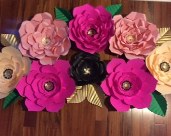 Kate Spade Inspired Paper Flower Backdrop, Giant Paper Flowers, Special Occasion Backdrop-Customizable in various colors.