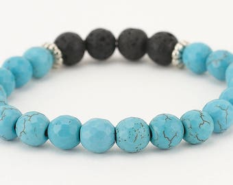 Lava bead bracelet, essential oil, diffuser bracelet, turquoise bracelet, stretch bracelet, essential oil bracelet, jewelry, aromatherapy