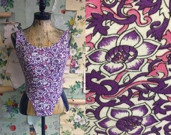 Vintage 1980s/1990s Cotton Printed Bodysuit. XS. High cut, leotard, pink, purple, floral.