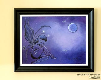 Moon Petal fairy acrylic painting Jessica Galbreth reproduction