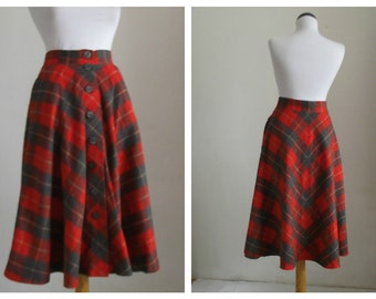 Vintage 70s wool plaid skirt/