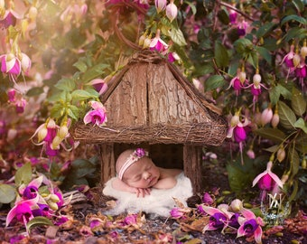 Newborn Digital Backdrop/ Prop / Photography / Outdoor with real flowers (Cubby house)