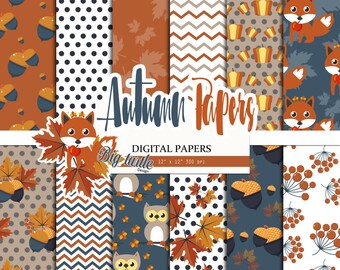 50% OFF SALE  Fox Fall digital paper, Autumn Digital paper, autumn pattern, leaves pattern, Scrapbook Paper, Printable Background, 12 JPG.