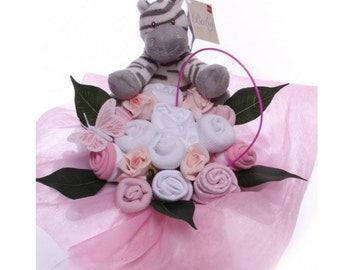 Baby Clothiing Bouquet with Zebra Rattle.
