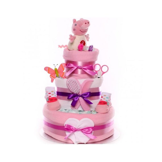Peppa Pig Nappy Cake, Nappy Cake 3 Tiers, Large Nappy Cake, Baby Shower Gift, Maternity Leave Gift, Nappy Cake UK delivery