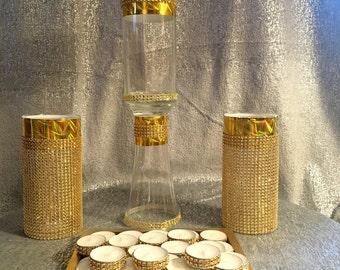 FREE SHIPPING , Set of (3) cylinder Vases centerpiece , Rhinestone Ribbon, (75) pcs, Rhinestone tea light candles, weeding bling.