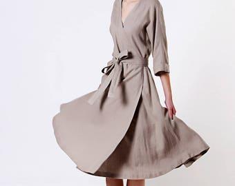 Wrap Linen Dress,Natural Linen Dress, Linen Kimono Dress with belt, Summer Dress, Natural Linen Dress, Grey Wrap Dress, Long Linen Dress