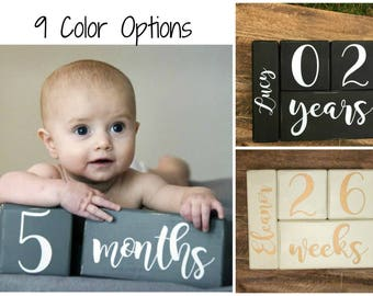 LARGE Baby Age Blocks, Milestone Blocks, Baby Shower Gift, Photo Blocks, Photo Prop