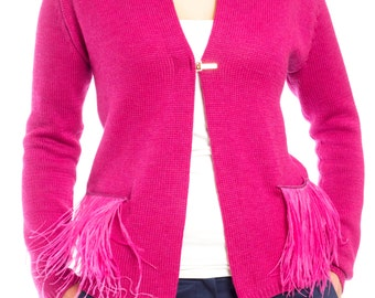 Pink knitted soft wool cardigan ostrich feather pockets gold elements