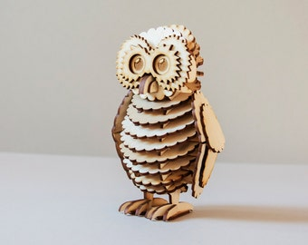 Owlet wooden model kit, Owl, owlish, eagle owl, tawny owl, grey owl