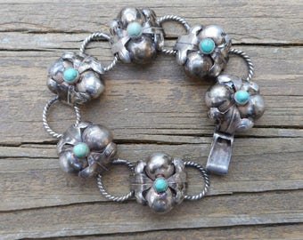 Early Mexican Sterling Silver & Turquoise Bracelet Floral Blossom Links