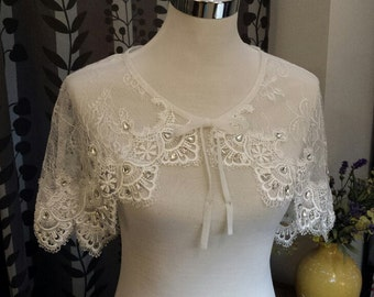 CU09, Bridal Lace capelet, Lace Cape, Cover Up for Strapless Wedding Dress