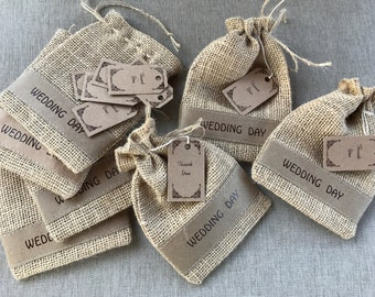 Burlap Rustic Wedding Bags 4x6