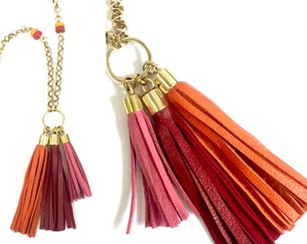 Handmade Triple Leather Tassel Necklace in Pink Red n Orange