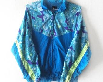 1990s Floral Windbreaker by LizSport, Size M, Blue/Green/Pink - Vintage