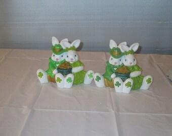 2 small irish ceramic bunnies