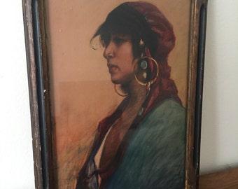 Beautiful Vintage Print of Native Woman