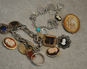 Vintage Mixed Cameo Lot Use, Repourpose, Reuse Bracelet Earrings Charms Brooch / Pin Cameo's