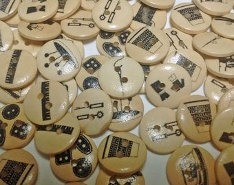 Clearance! 25 Sewing Themed Wood Buttons : Crafts Scrapbooking Sewing - Unique Buttons - #033